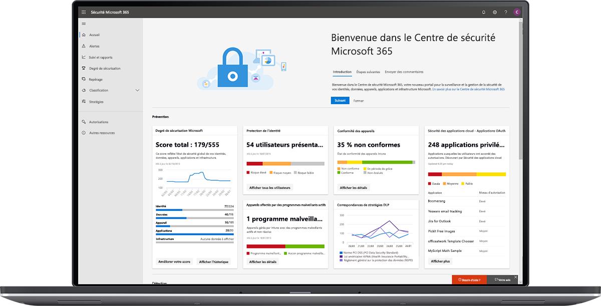 Image du tableau de bord du Centre de sécurité Microsoft 365.