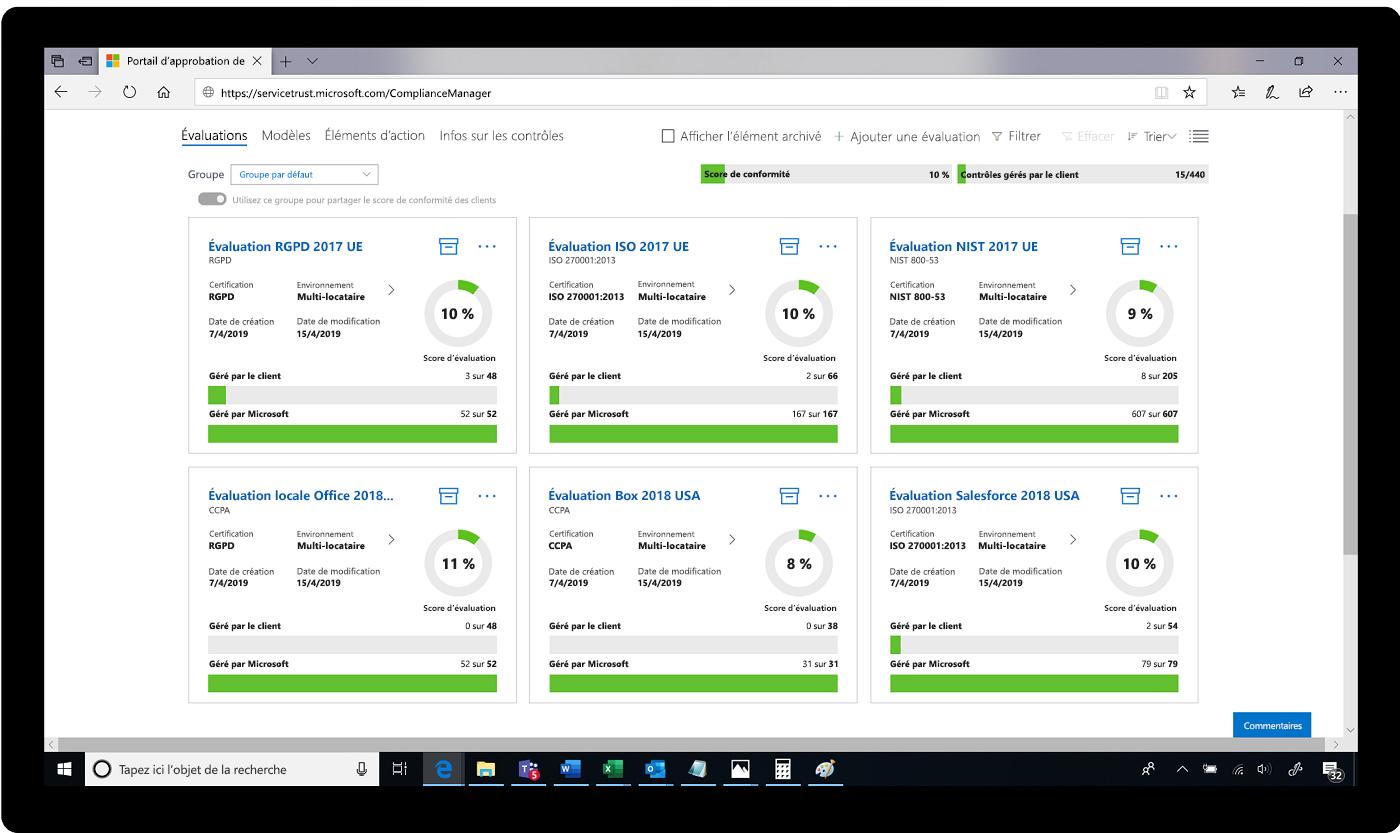 Capture d'écran d'évaluations dans le Portail d'approbation de services.