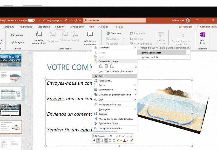 Capture d'écran de la prise en charge multilingue utilisée sur une diapositive Microsoft PowerPoint.