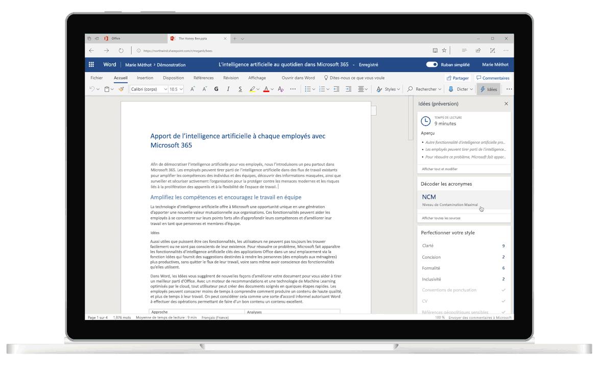 Capture d'écran de la fonctionnalité Idées dans Word, le rédacteur optimisé par l'intelligence artificielle qui fournit des suggestions grammaticales et rédactionnelles.
