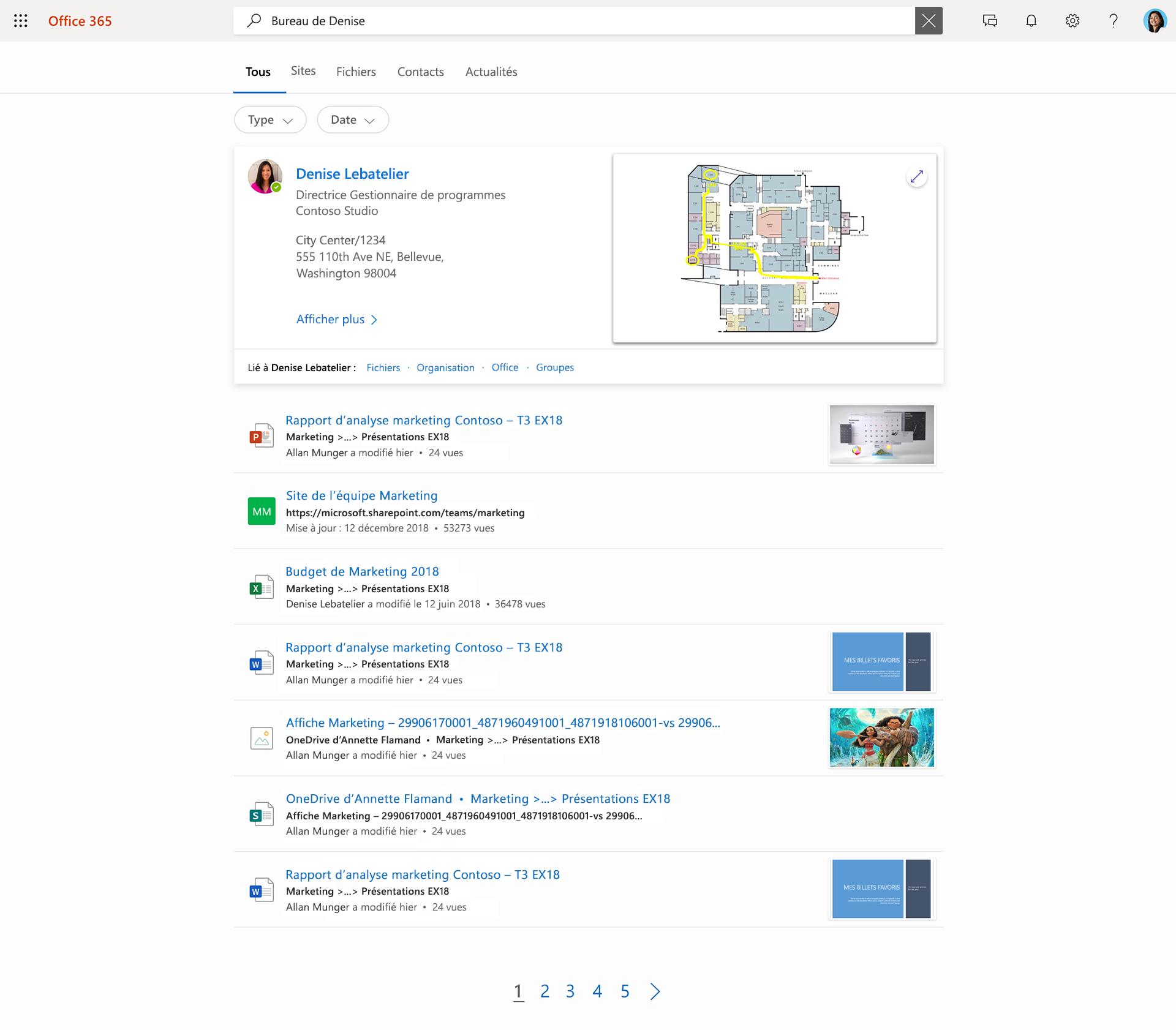 Image de Recherche Microsoft.Après que l'utilisatrice a tapé « Daisy office », des contacts, des fichiers et des sites se sont affichés sur sa liste.