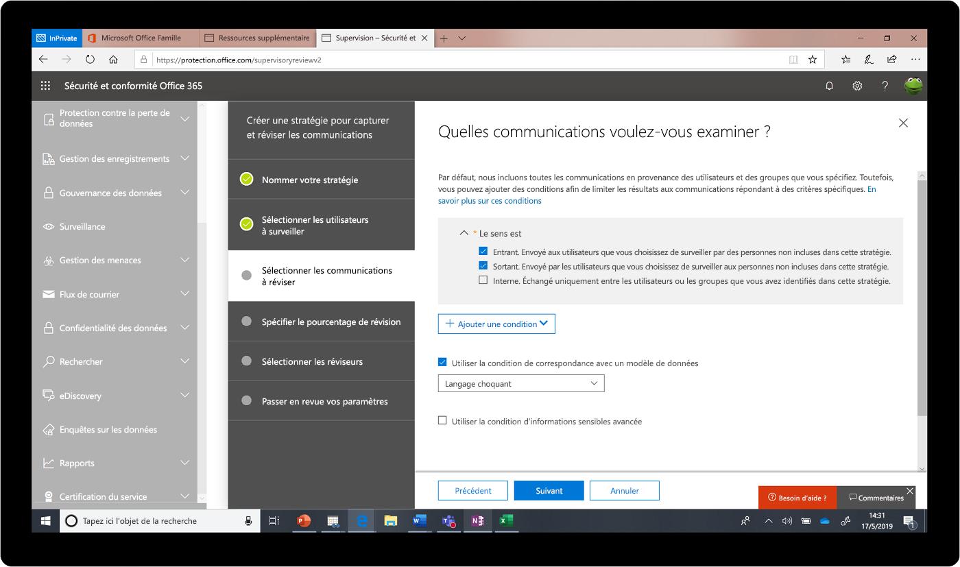 Capture d'écran du Centre de sécurité et de conformité Office 365.
