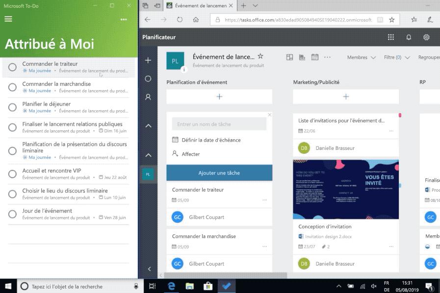 Capture d'écran de l'intégration des applications Microsoft To-Do et Planificateur.