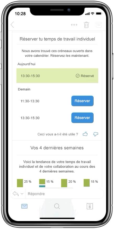 Capture d'écran de Temps de travail individuel dans MyAnalytics.