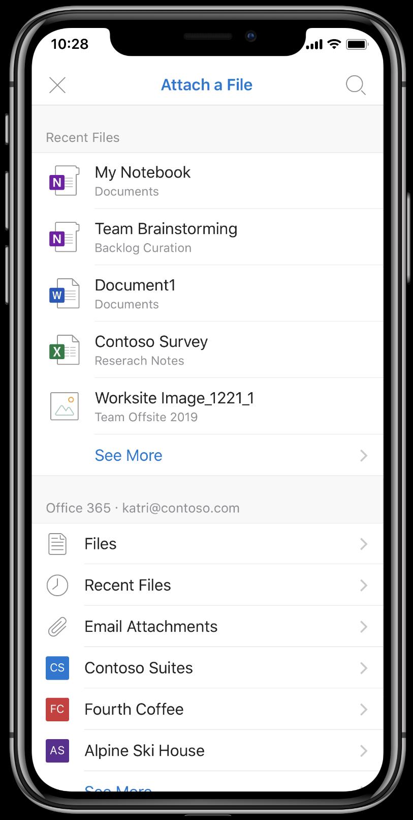 Capture d'écran de fichiers joints dans Outlook pour iOS.