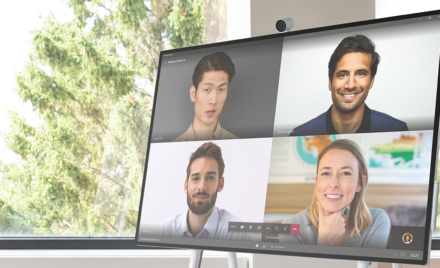 Image for: Image of teammates connecting on a Surface Hub.