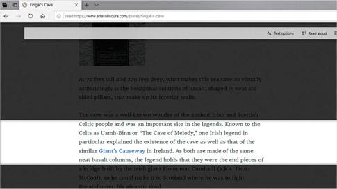Preglednik Microsoft Edge u kojem je prikazano samo nekoliko redaka teksta na stranici sa značajkom fokusa na retke