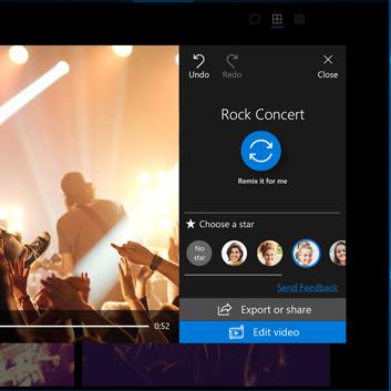 Djelomična slika aplikacije Fotografije koja prikazuje mogućnost Odabir zvijezde prilikom stvaranja videozapisa