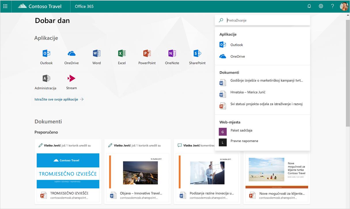 Snimka zaslona s prikazanim pametnim preporukama u pretraživanju u sustavu Office 365.