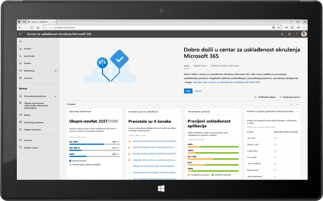Slika tableta koji prikazuje novi Centar za usklađenost okruženja Microsoft 365.