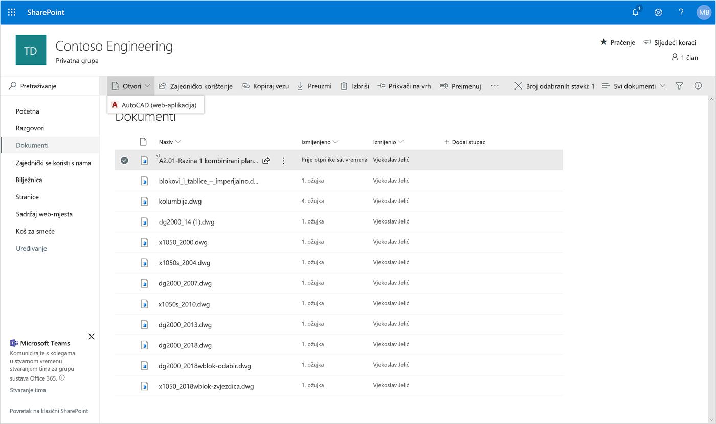 Snimka zaslona otvaranja web-aplikacije AutoCAD u sustavu SharePoint.