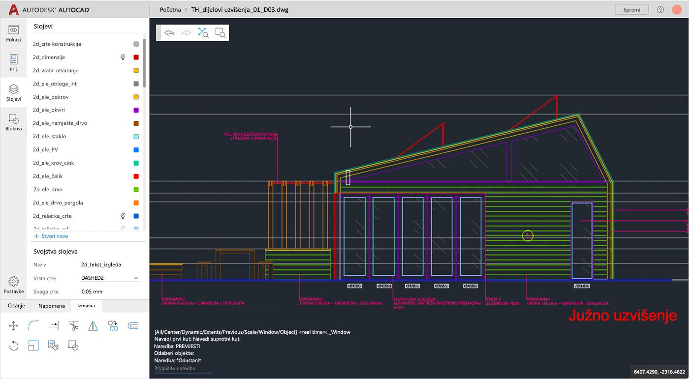 Snimka zaslona AutoCAD datoteke u alatu Autodesk koja se otvara u sustavu SharePoint.