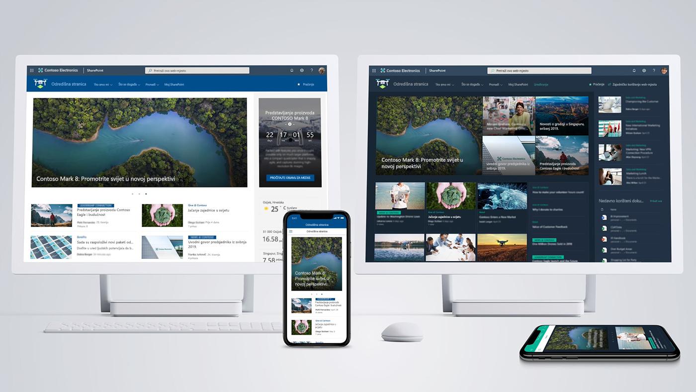 Slika nekoliko uređaja na kojima su prikazana početna web-mjesta sustava SharePoint koja omogućuju dinamično, zanimljivo i personalizirano okruženje za zaposlenike tvrtki i ustanova.