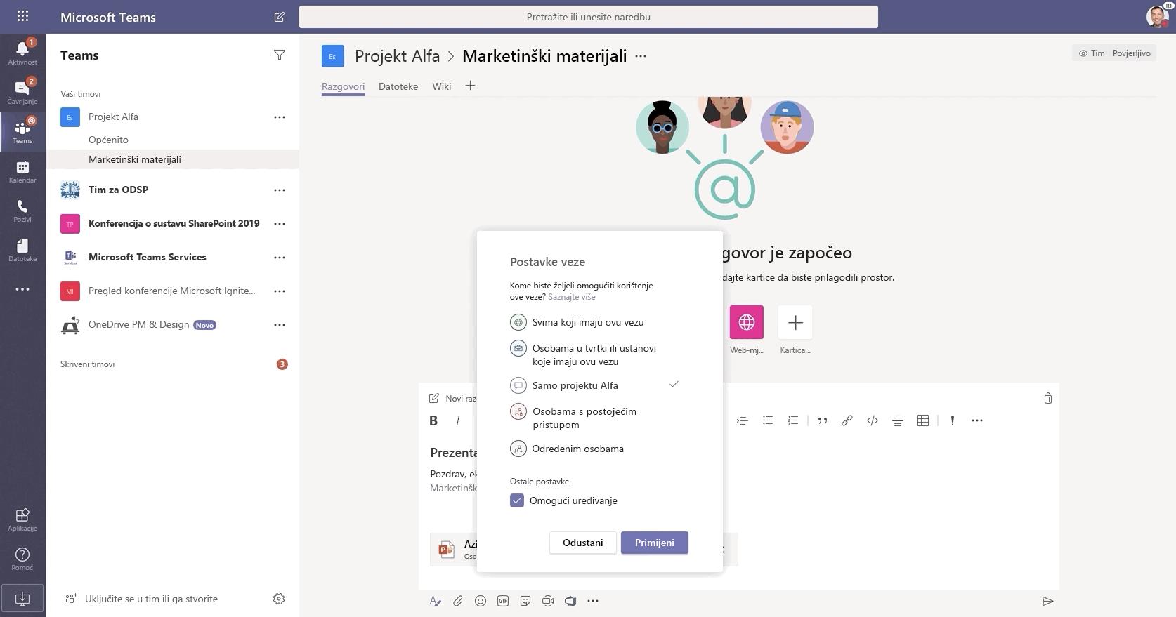 Slika razgovora na servisu Microsoft Teams.