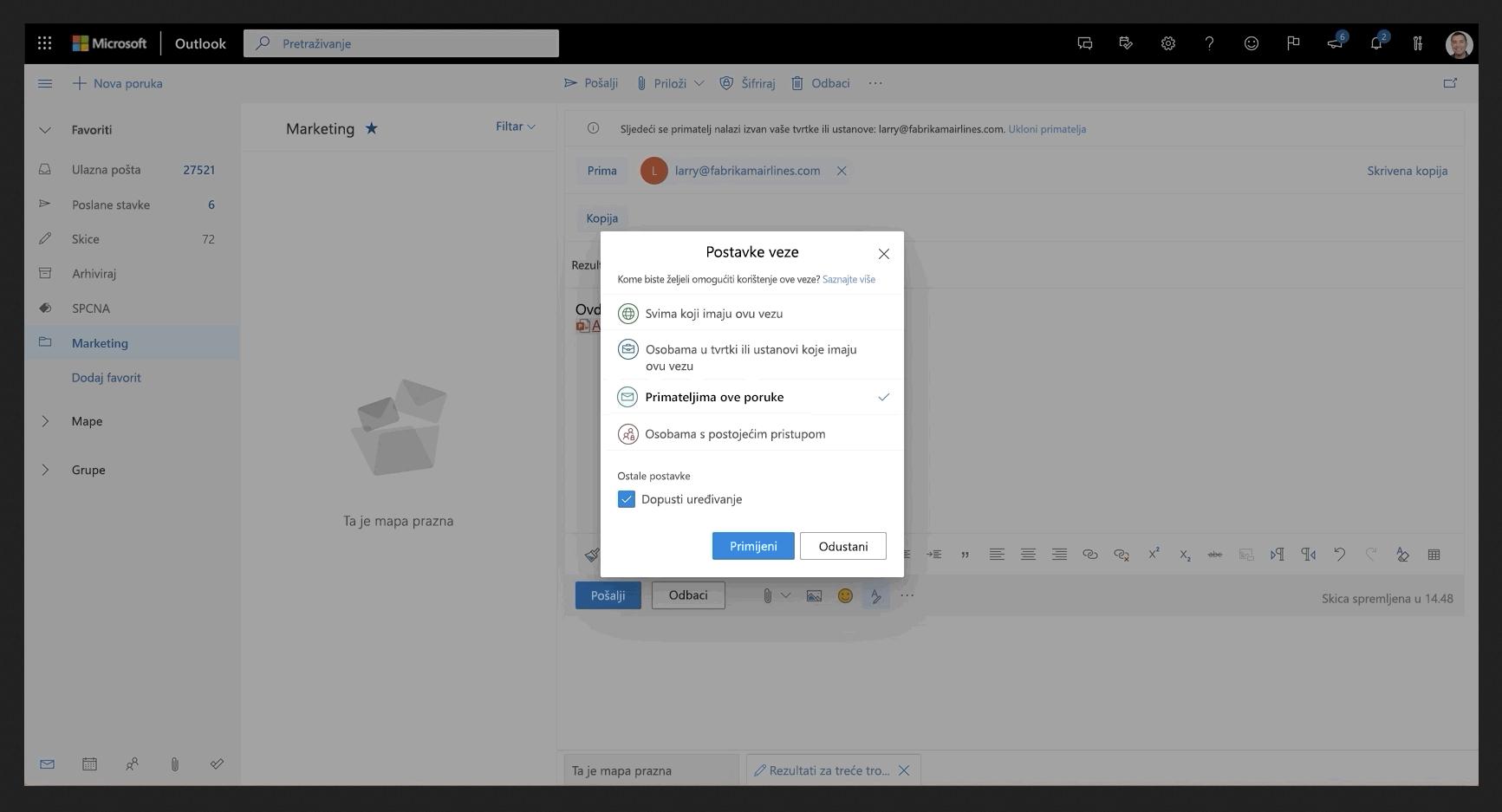 Slika datoteke koja se zajednički koristi u programu Outlook.