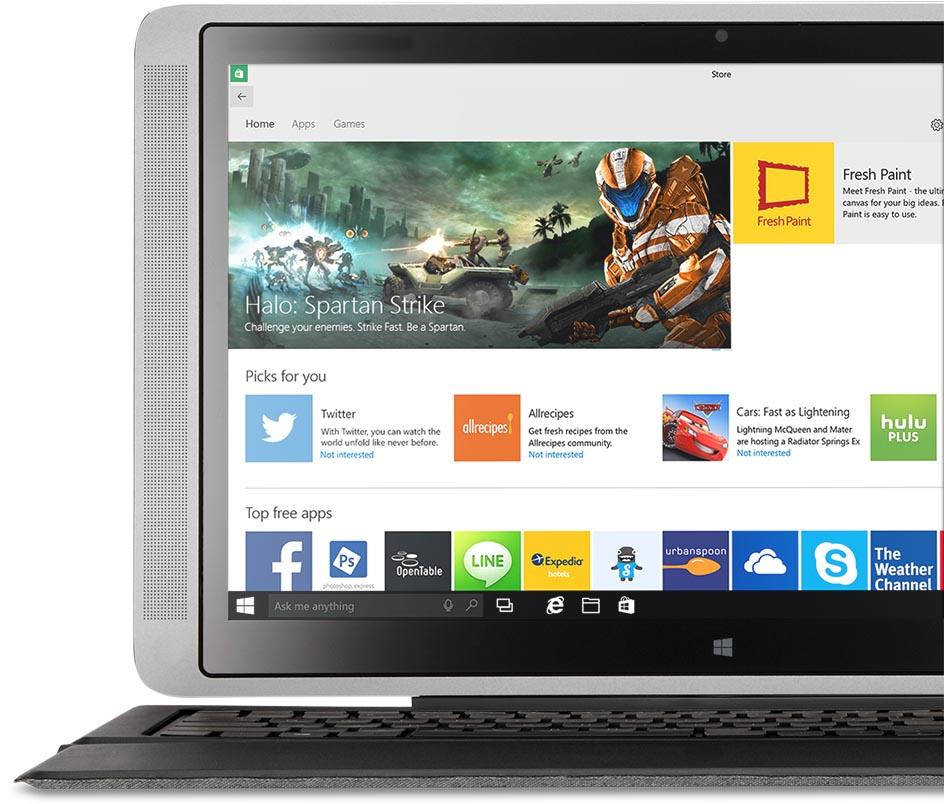 Laptop a Windows Áruházzal a képernyőjén