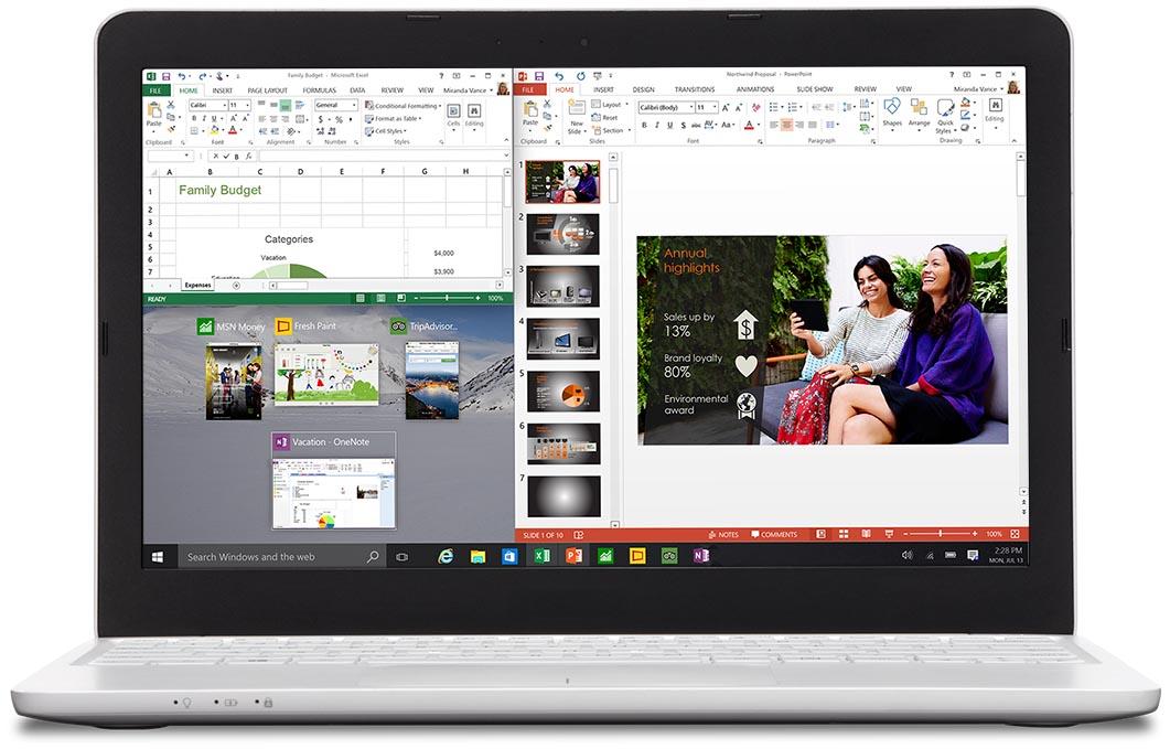 Laptop két alkalmazás egyidejű megjelenítésével