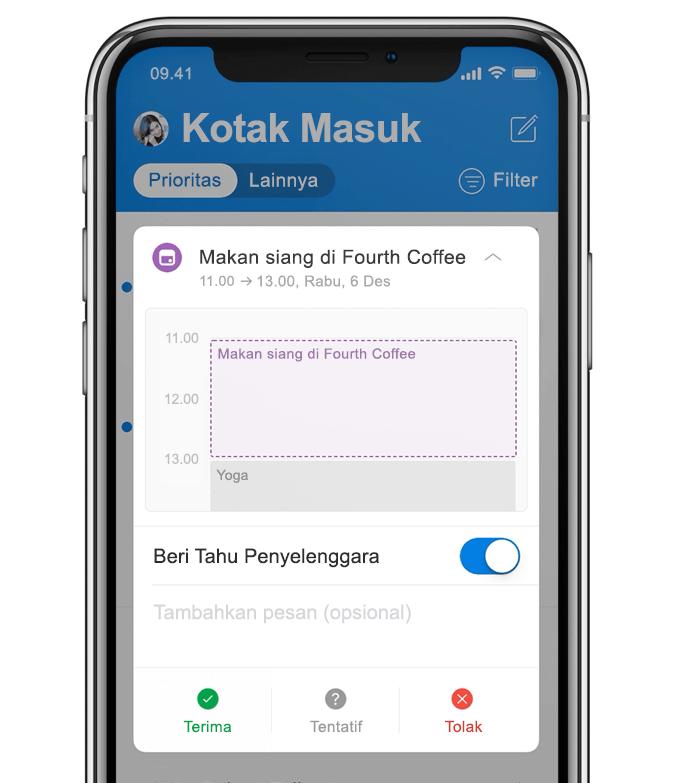 Gambar animasi ponsel menampilkan pengguna menambahkan makan siang ke kalender.