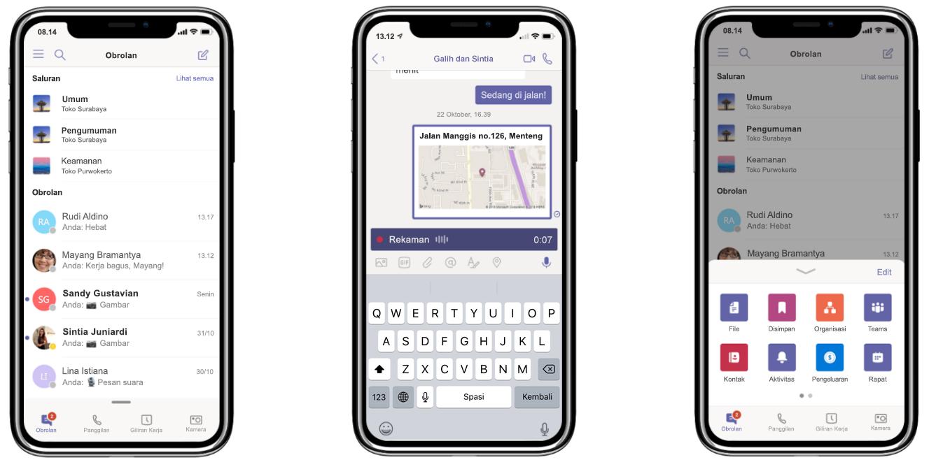 Gambar tiga ponsel yang menampilkan rekaman panggilan dan Obrolan di Microsoft Teams.