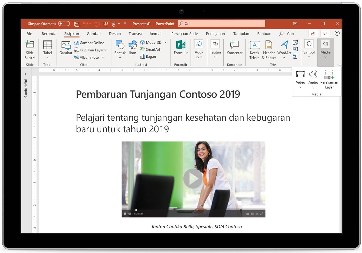 Gambar tablet menampilkan slide PowerPoint.
