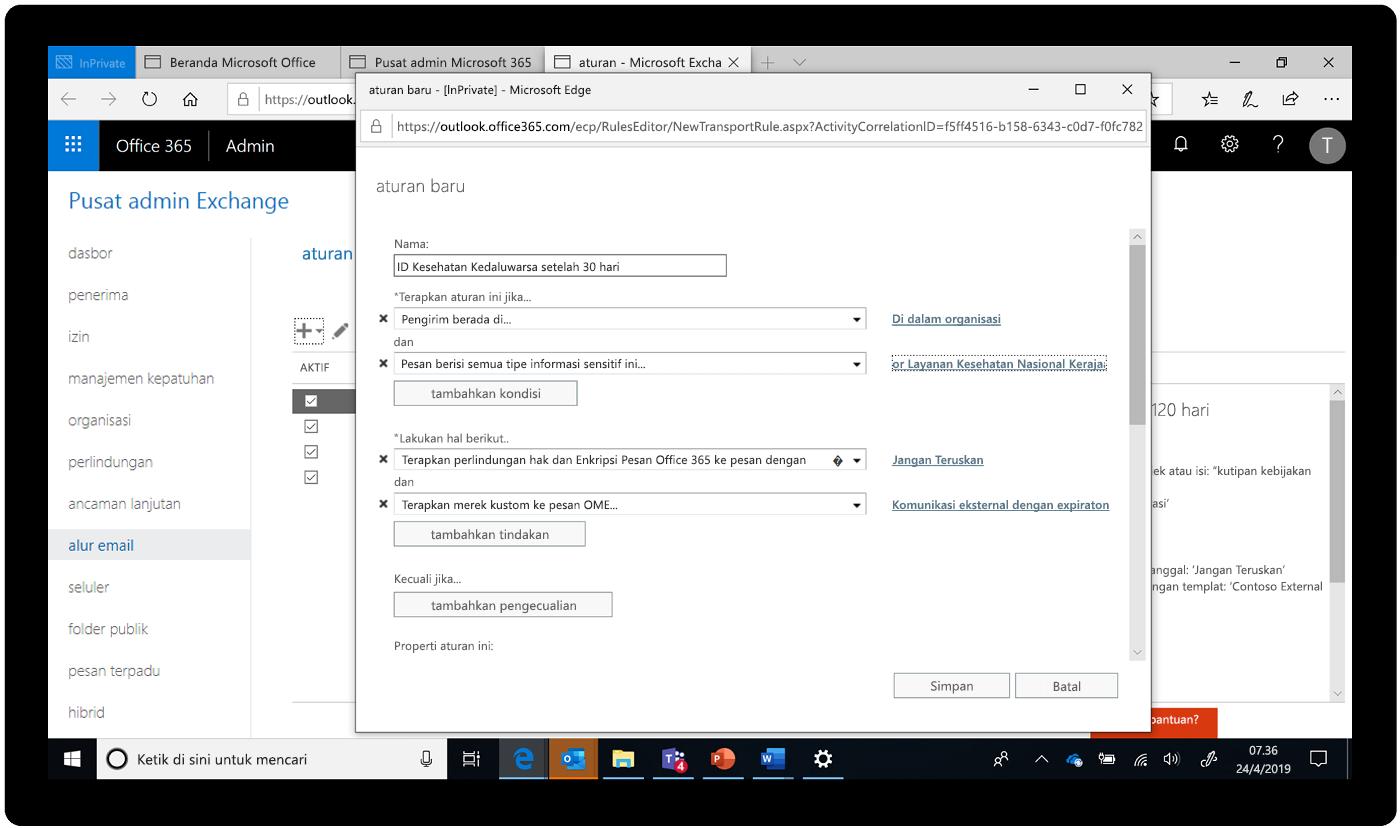 Cuplikan layar pusat admin Exchange.