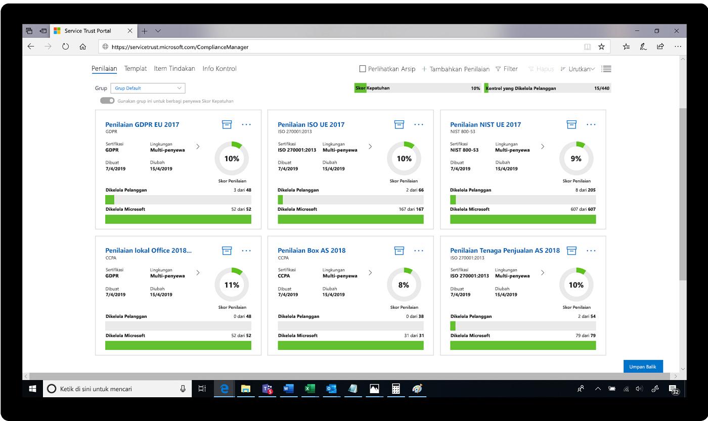 Cuplikan layar penilaian di Service Trust Portal.
