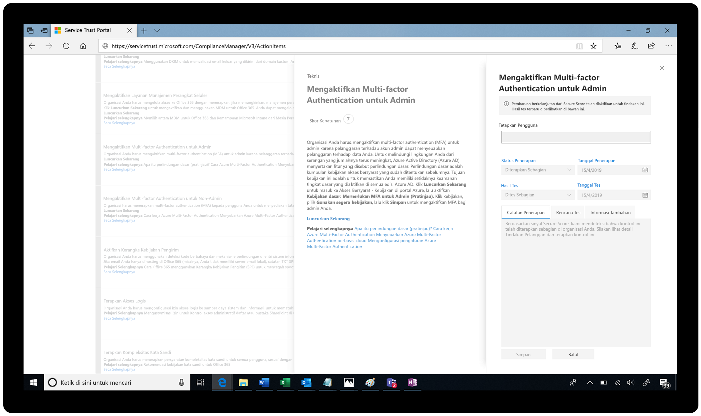 Cuplikan layar Multi-factor Authentication yang diaktifkan di Service Trust Portal.