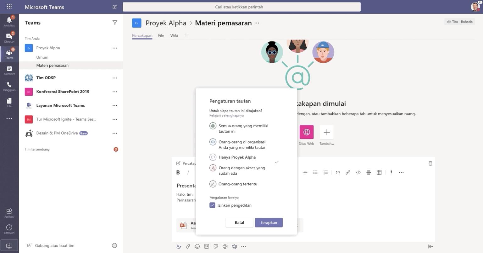 Gambar percakapan di Microsoft Teams.