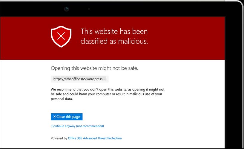 Gambar pesan yang muncul di layar tablet, menampilkan situs web yang telah dikategorikan sebagai berbahaya.