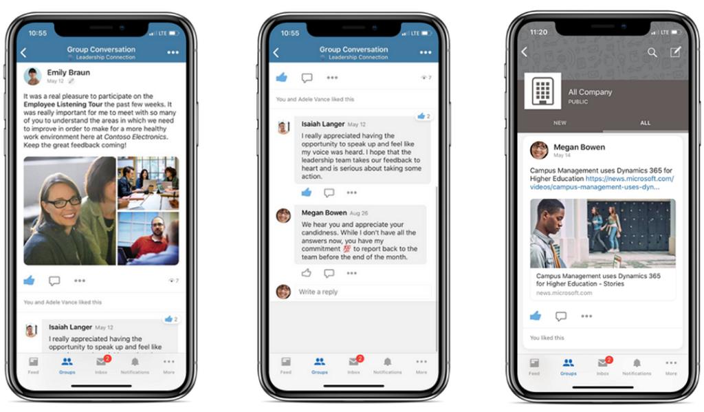 Gambar tiga ponsel yang saling berjejer, menampilkan Percakapan Grup di Yammer.