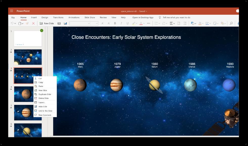 Gambar sebuah slide yang akan disalin di PowerPoint.