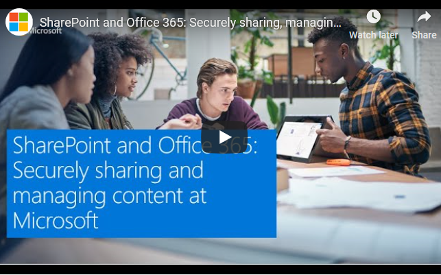 A screenshot of the view player for the SharePoint and Office 365: Securely sharing, managing, governing, and protecting content Microsoft webinar.