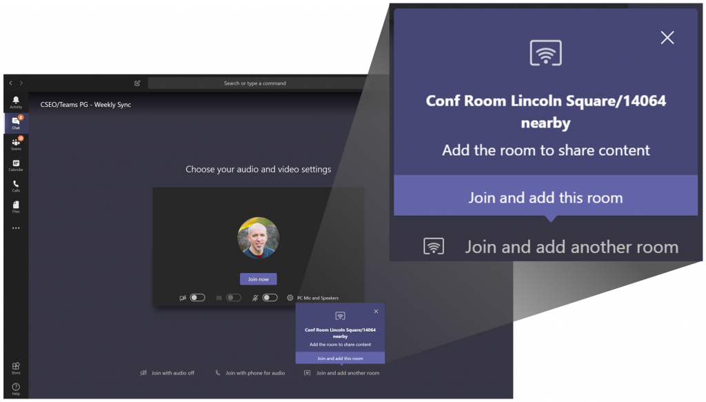 """Screen shot showing the new """"Join and Add a Room"""" feature in Microsoft Teams. The screen shot shows a pop-up box inviting the user to click once to join to turn their conversation into a meeting."""