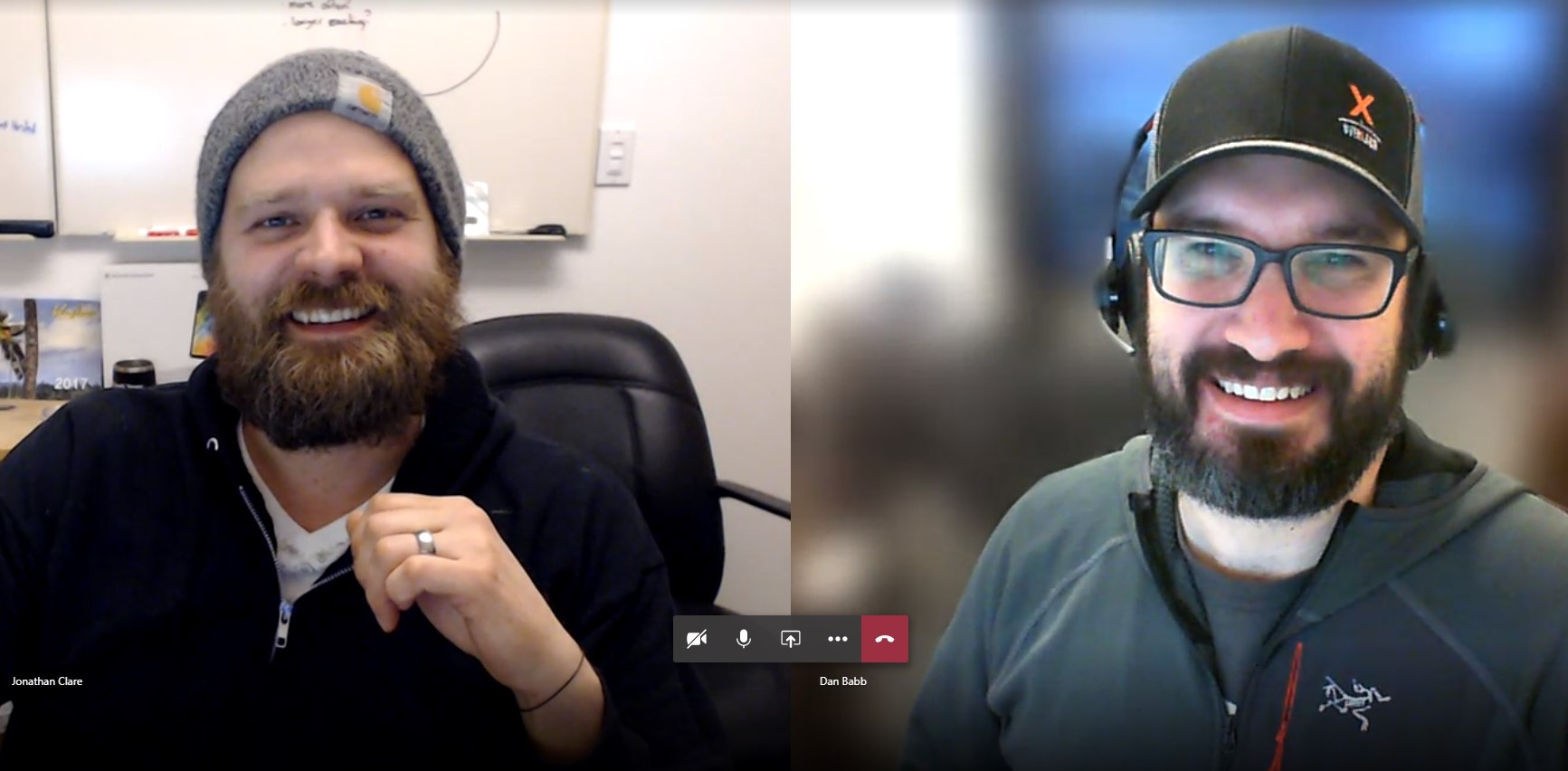 A screenshot shows Clare on the left and Babb on the right. Both are wearing headphones and appear next to each in a two photo-phot format spliced together in one shot by Microsoft Teams.