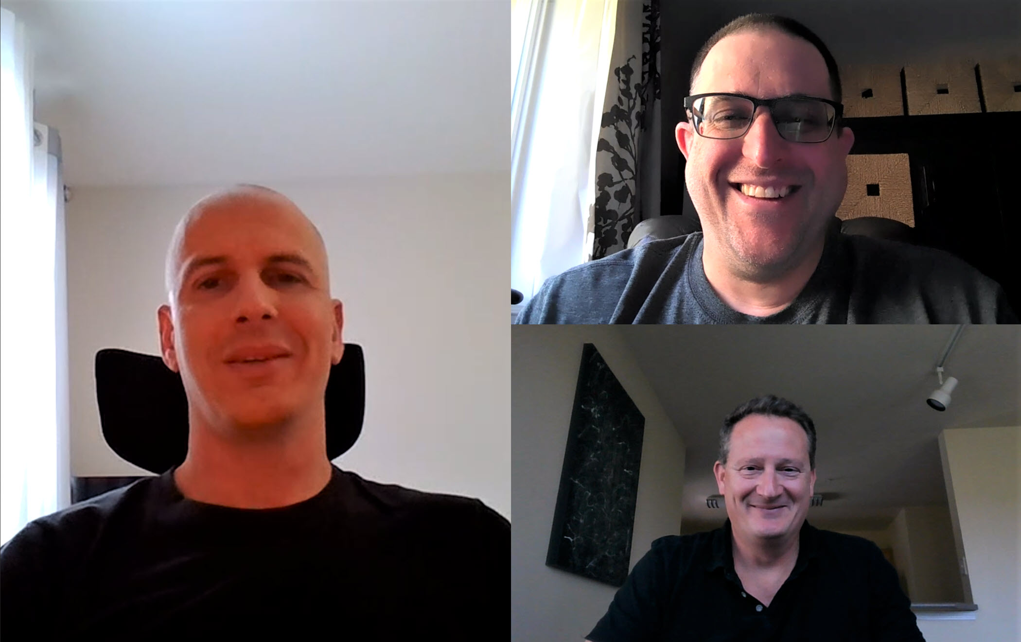 Steve Means, Carmichael Patton, and Phil Suver smile as they talk on a Microsoft Teams call.