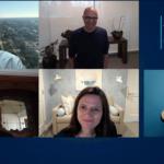 Satya Nadella speaks to Microsoft employees while members of the Microsoft Senior Leadership Team look on via a Microsoft Teams meeting interface. A sign-language interpreter is also shown interpreting the proceedings.