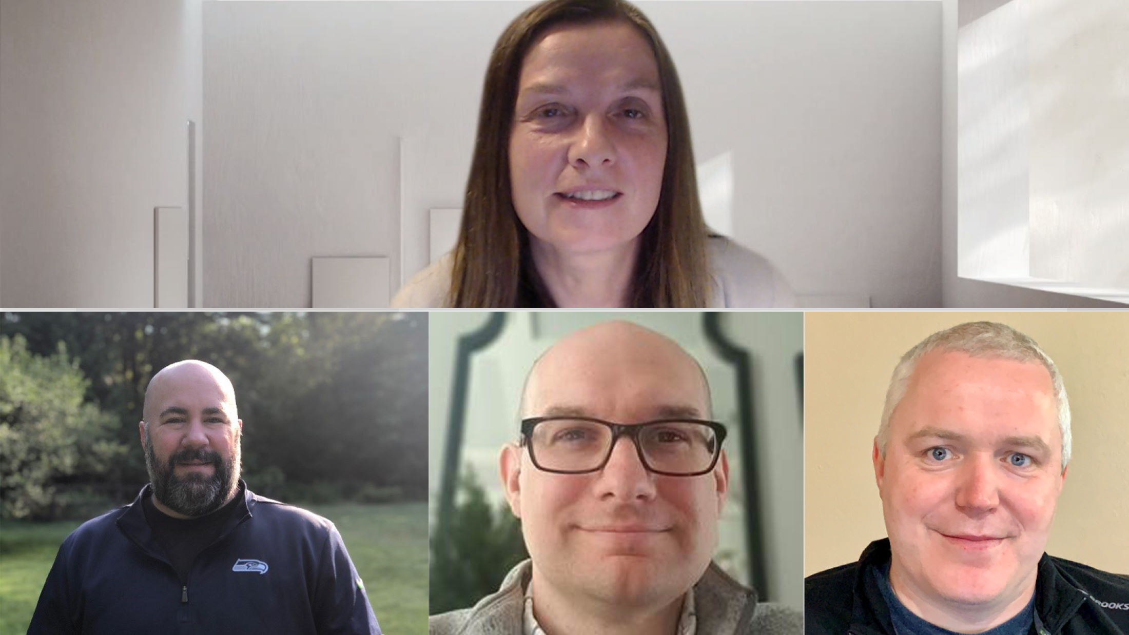 McHale, Gagnon, Gray, and O'Flaherty pose for a photo from their home offices via a Microsoft Teams call.