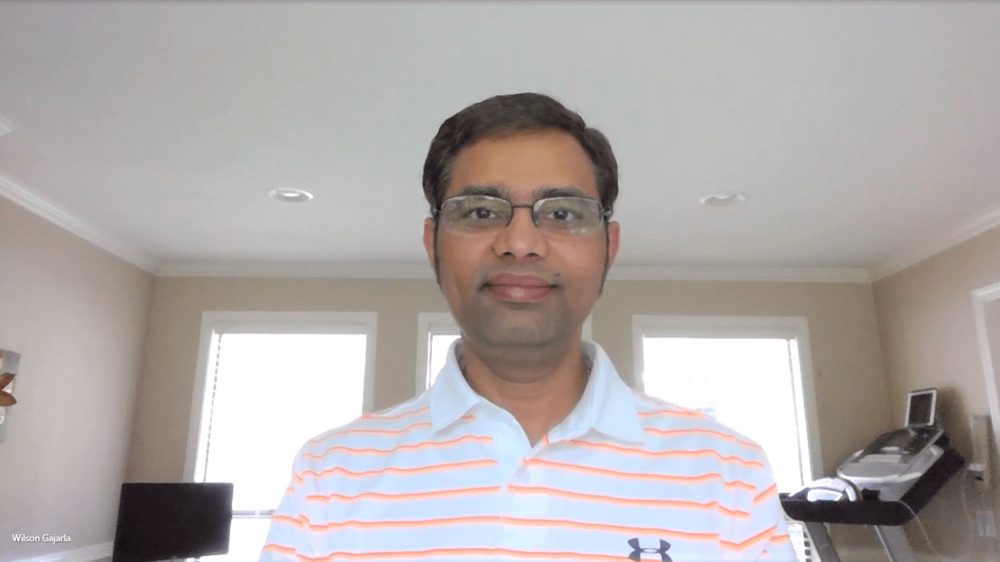 Gajarla poses for a photo via a Microsoft Teams meeting.