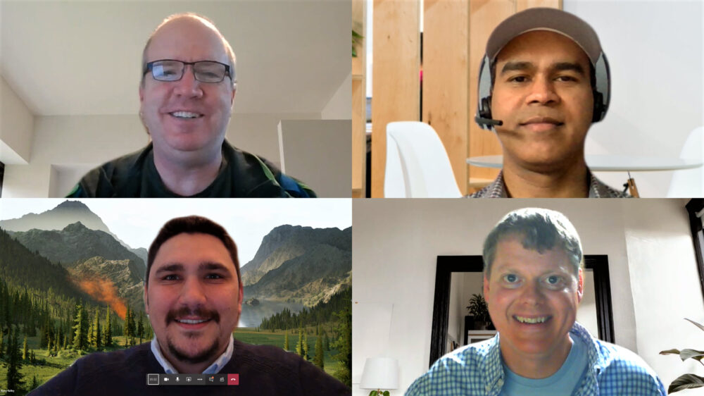 Maw, Surendranath, Kelley, and Busby pose for photos from their home offices via a Microsoft Teams call.