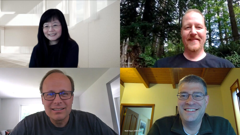 Chau, Hoyer, Nilsson, and Hayes pose for a screenshot during a Microsoft Teams meeting.