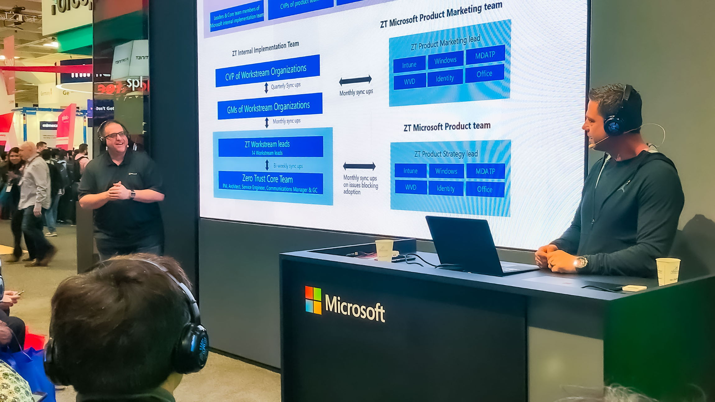 Carmichael Patton and Mark Skorupa stand on either side of a presentation slide of an overview of Microsoft's Zero Trust security model.
