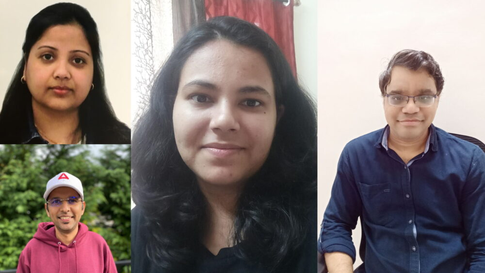 Agarwal, Chauhan, Raghuwanshi, and Khilnani are pictured together in a collection of images taken from their home office via Microsoft Teams or taken via traditional photo.