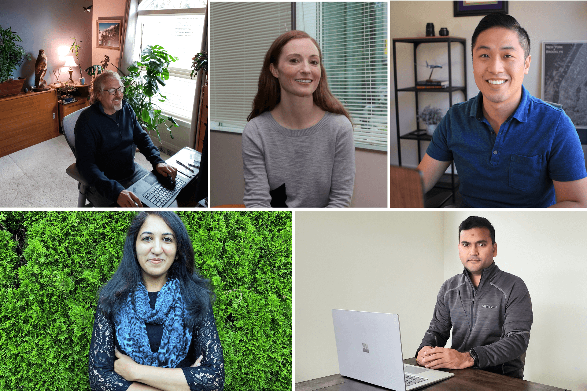 A collage of Microsoft employees are shown working from their home offices.