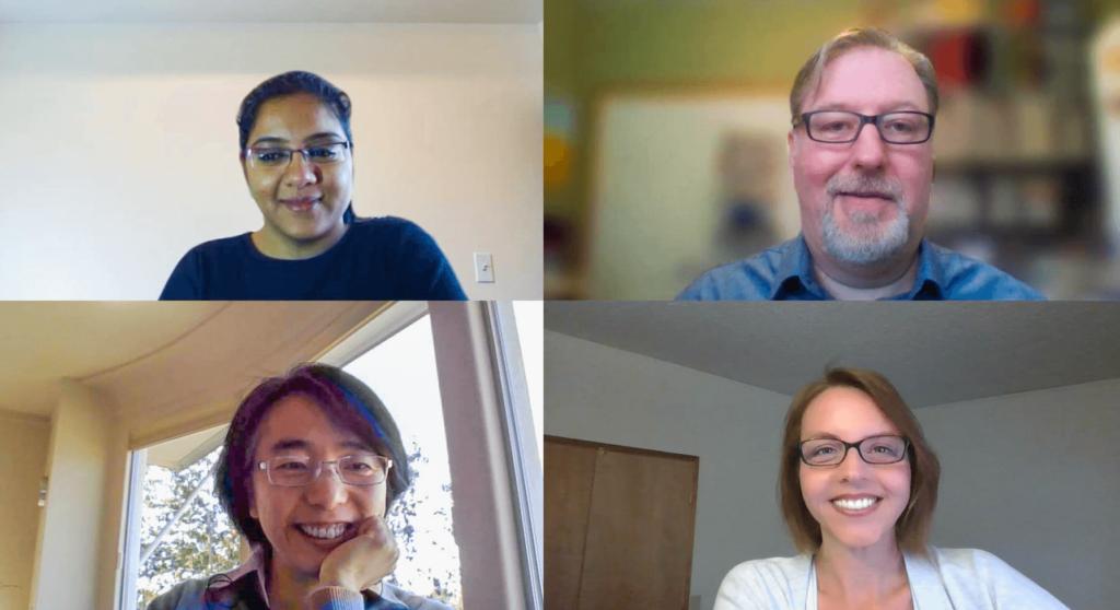 Choudhari, Anderson, Yan, and Baxter meet from their home offices via a Microsoft Teams call.
