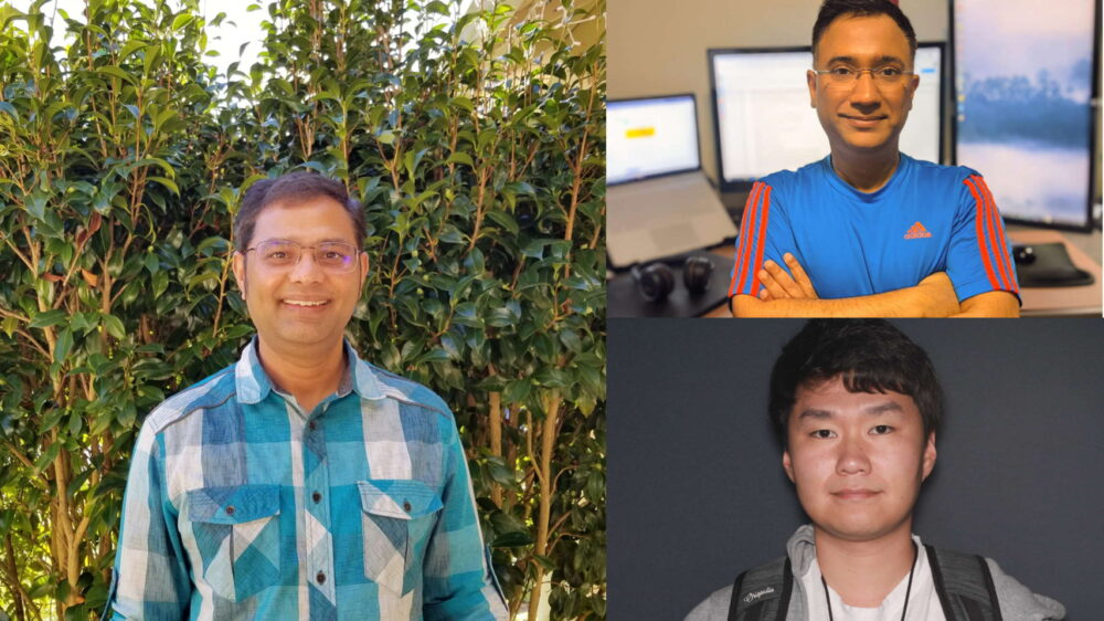 Individual photos of Gajarla, Sayal, and Han stitched together to represent the engineering team responsible for the solution.