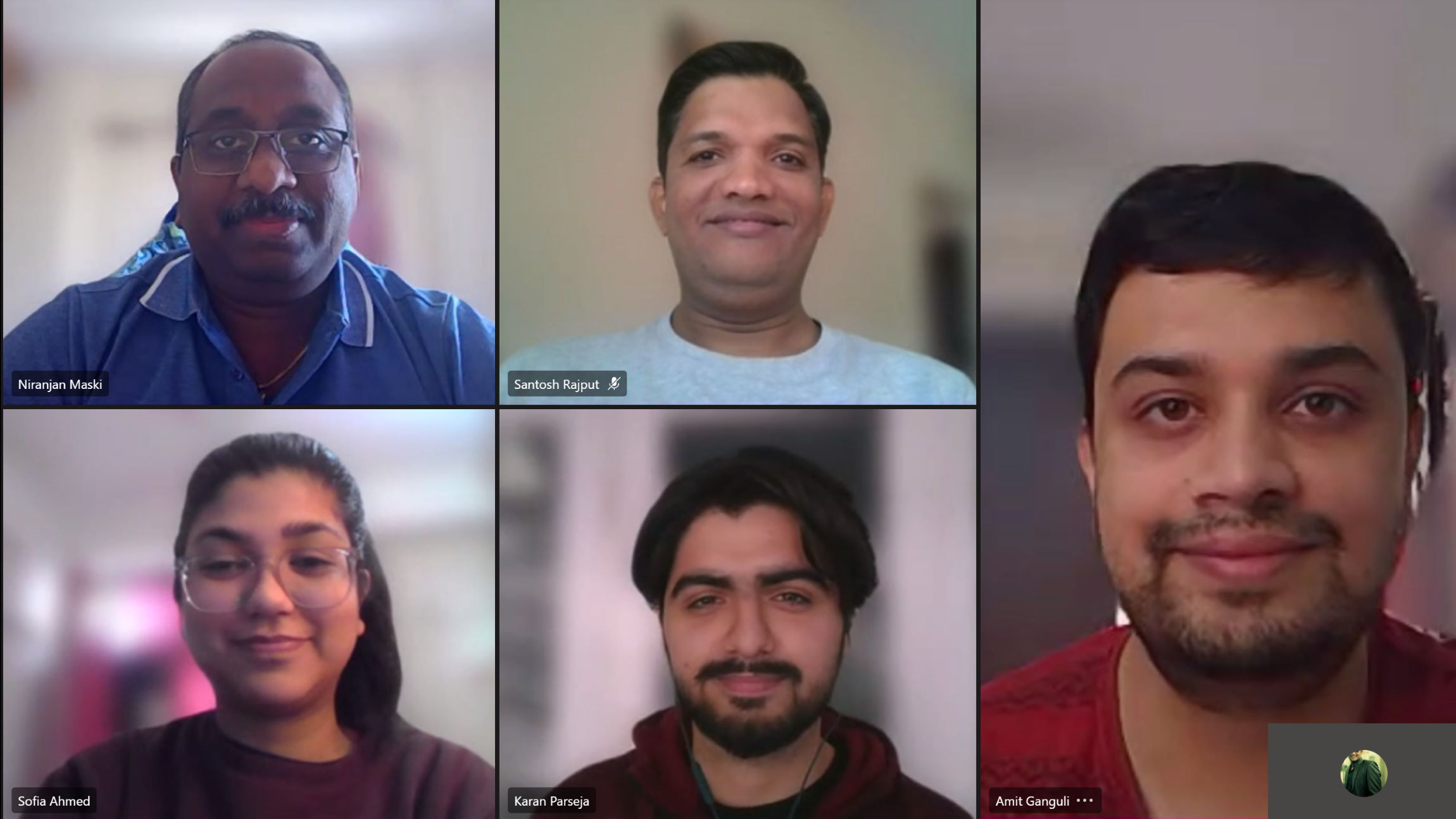 A photo shows the faces of the different team members who worked on the new SAP application: Maski, Rajput, Ganguli, Parseja, and Ahmed.