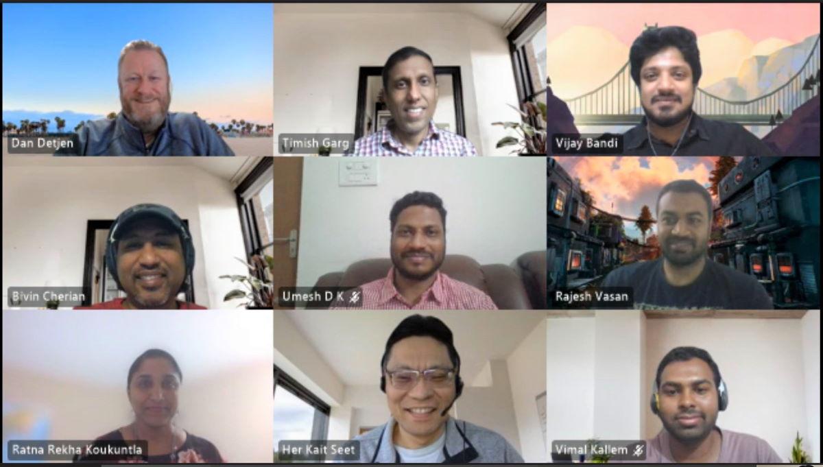 Procurement team members smile in a screenshot taken from a Teams call. Pictured are Detjen, Garg, Bandi, Cherian, D K, Vasan, Koukuntla, Seet and Kallem.