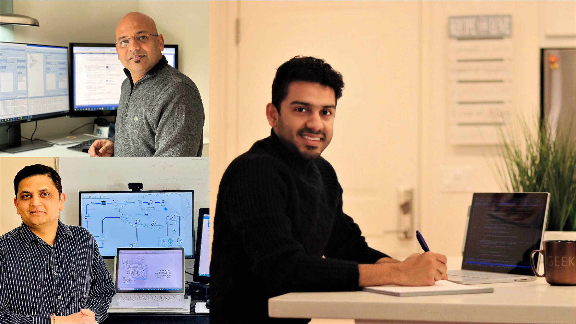 Jain, Rath, and Deshpande are shown working from their home offices in a collage image arrangement.