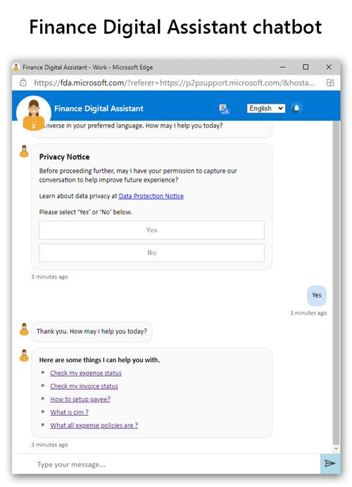 ProcureWeb and the Finance Digital Assistant screenshot.