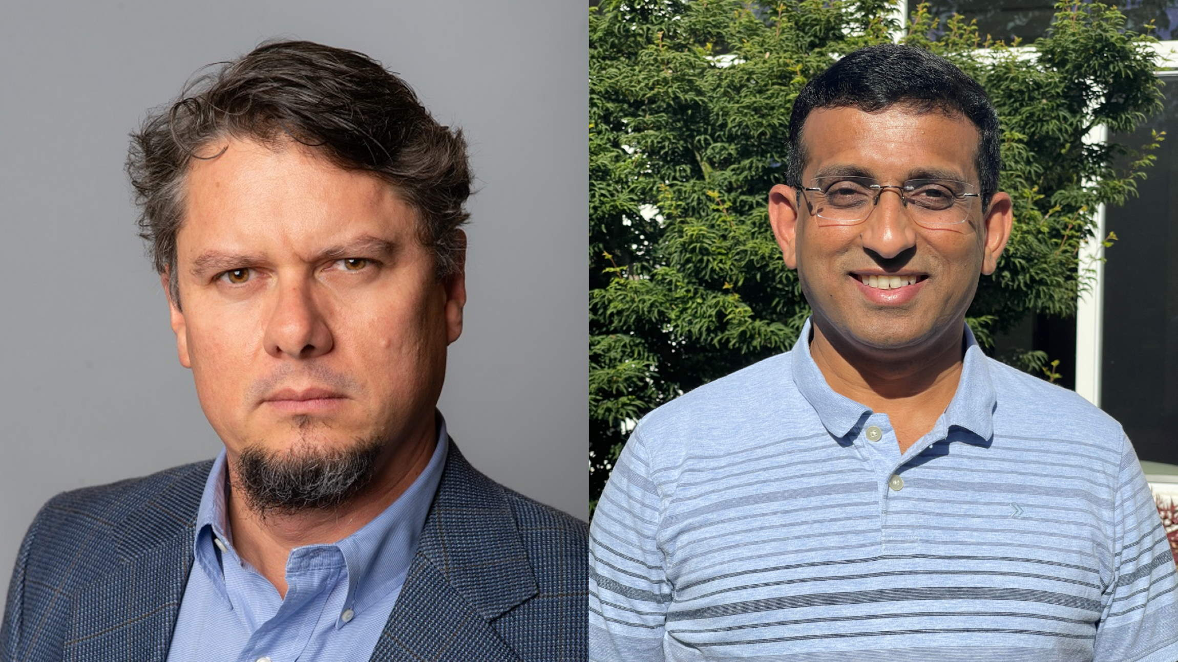 At left, Ulloa looks at the camera in a headshot photo. At right, Ambekar poses outside wearing glasses and smiling.